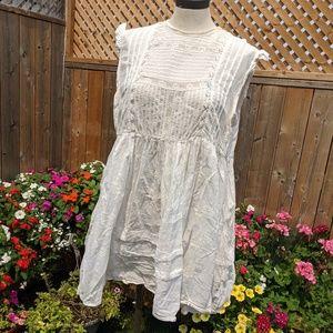 Free people white Babydoll swing mini dress